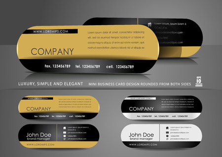 Mini business card design in black and gold color Ilustrace