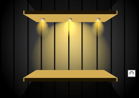 Shelf in dark room Vector