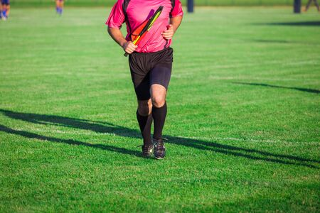 Football soccer rugby referee running on sport field and holding flag