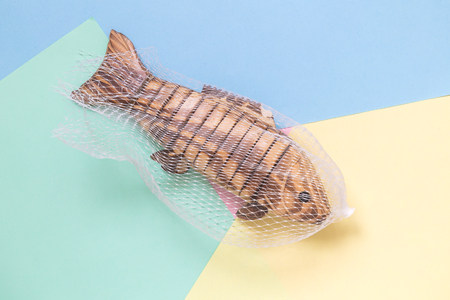 Wooden fish in fishing net on colorful pastel background minimal creative concept. Stock Photo