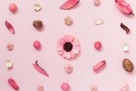 Creative pattern made of dried flowers, leaves and fruitage on pastel pink background summer spring minimal concepts.