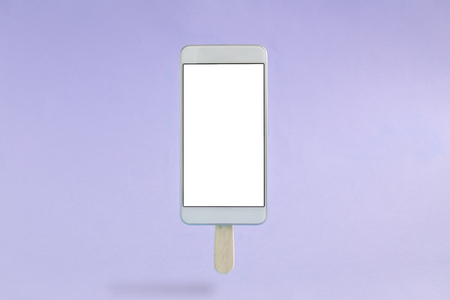Mobile phone in form of ice cream isolated on pastel purple background minimal concept.
