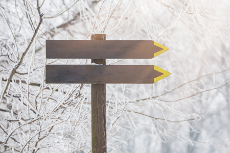 Wooden sign against winter nature background. Space for copy. 版權商用圖片