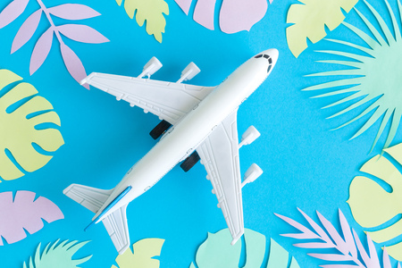 Top view of airplane model and multicolored leaves against blue background. Foto de archivo - 118588628