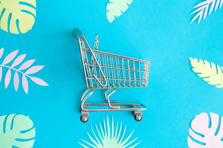 Small shopping cart with colorful tropical leaves on blue background minimal creative summer shopping concept. Foto de archivo - 118588674