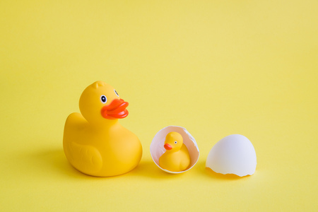 Rubber duck with duckling in egg shell against yellow background minimal creative concept.