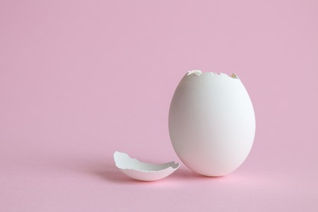 Egg shell on bright pink background. Minimal easter concept.