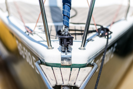 Close up of front side of sailing boat. Stock Photo
