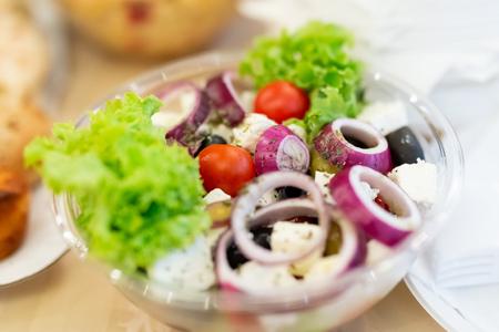 Fresh vegetable salad close up.
