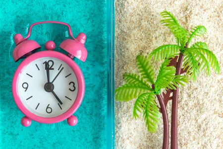 Flat lay of alarm clock in swimming pool or sea and palm tree in sand minimal creative summertime concept.