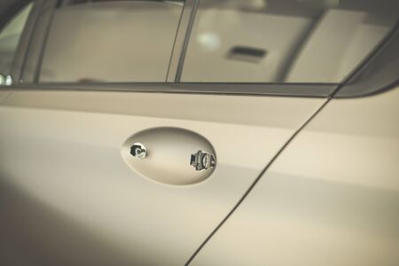 Car door with removed handle. Car reparation concept. Stockfoto
