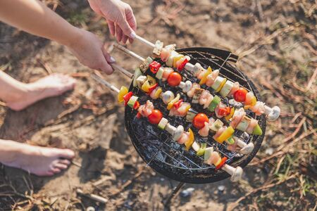 Close up of young female preparing mixed vegetable and chicken meat skewers on barbecue grill outdoors. Banco de Imagens