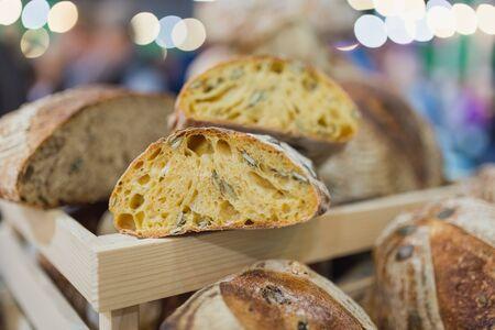 Close up of whole grain bread. Banco de Imagens