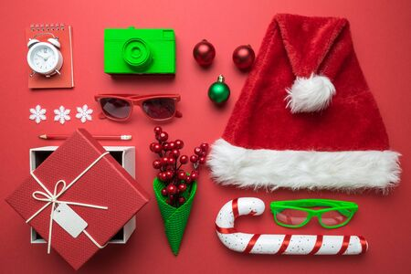 Flat lay of Christmas objects creative composition. Banco de Imagens