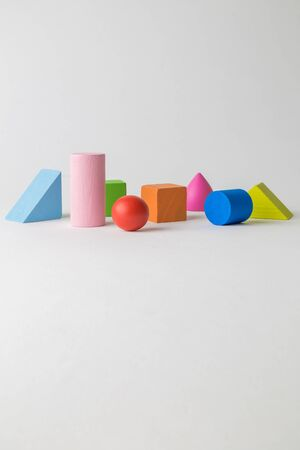 Multicolored set of 3D shapes toy abstract. Banco de Imagens