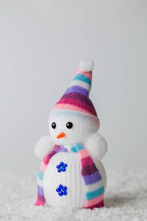 Close up of snowman toy abstract background winter holidays concept.
