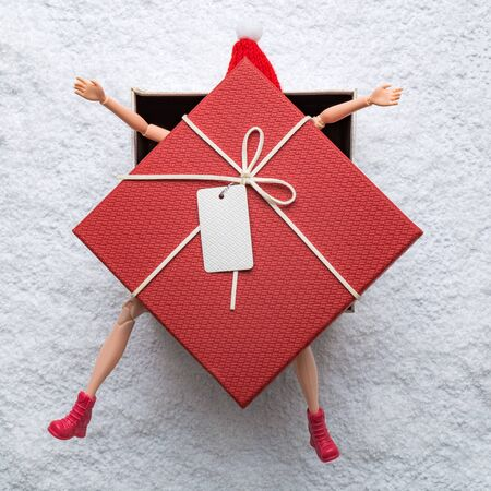 Doll with red hat in gift box on snow minimal creative christmas holiday winter season concept. Banco de Imagens