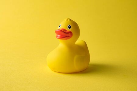 Rubber duck toy for swimming on yellow background. Zdjęcie Seryjne