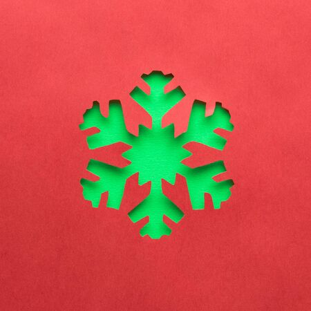 Snowflake made of paper minimal creative winter holidays concept. Banco de Imagens