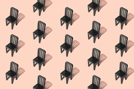 Empty chairs pattern on pastel background minimal creative concept.