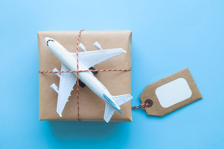 Flat lay of wrapped package with blank tag and airplane model on pastel blue background. Shipping logistics transport minimal creative concept. Stockfoto