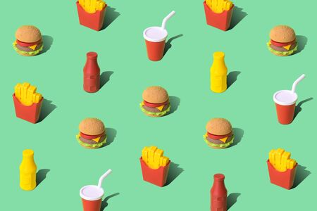 Junk food pattern on pastel green background minimal creative unhealthy meal concept.