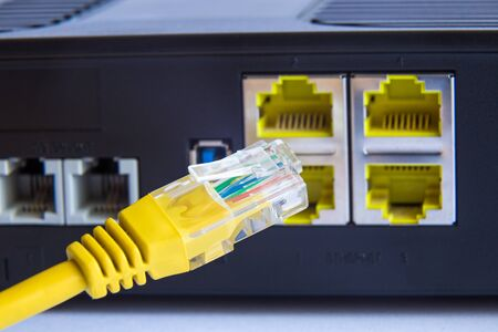cable and backside router. Internet security concept.