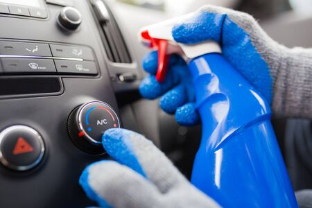 Detailed Cleaning of Modern Car Interior. Automotive Theme. Air conditioner testing. Banque d'images