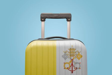 Suitcase with Vatican city flag design travel europe concept.