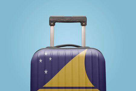 Suitcase with Tokelau flag design travel America concept.
