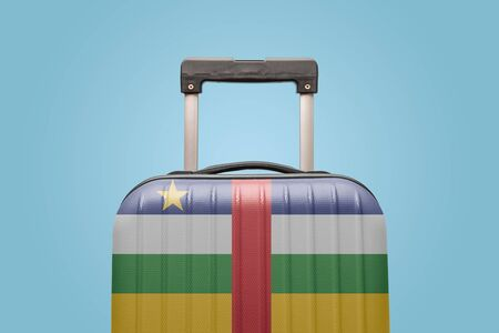 Suitcase with Central African Republic flag design travel Africa concept.