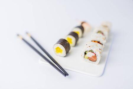 Close up of japanese sushi set on white background.