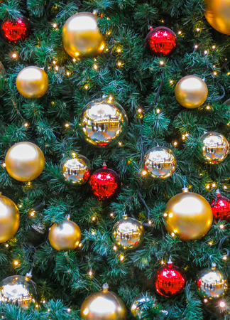 Christmas balls on a Christmas tree in a shopping center in Riga. Latvia 2017. Stok Fotoğraf