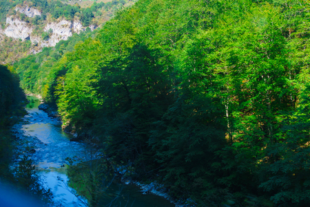 the gorge of the river Tara in Montenegro surrounded by picturesque mountains.Europe