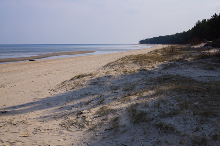 Sandy coast of Baltic sea in the Gulf of Riga, Latvia