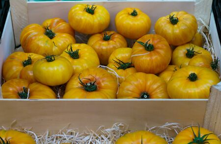 Yellow farm eco tomatoes in a wooden box Stock Photo - 133250253