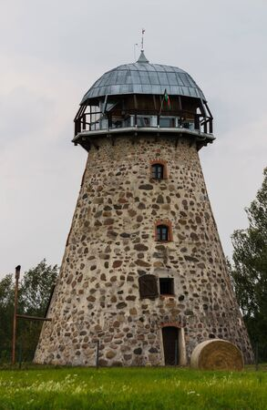 Stone round tower from an old windmill
