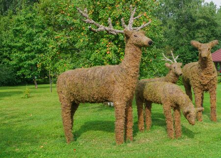 Prepared from moss and straw different shapes of animals, to decorate the garden Stock fotó