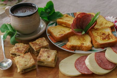 Breakfast, served with coffee, toasters, cheese and sausage Balanced diet