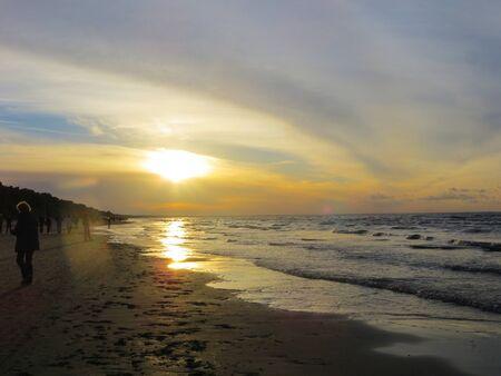Riga bay in the rays of the setting sun Stock Photo