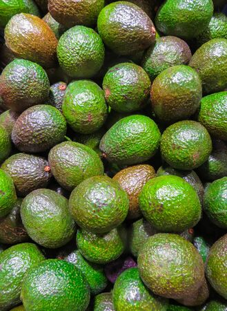 box of ripe avocado fruit on the shelf in the store
