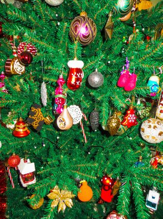 A lot of Christmas tree toys on the tree