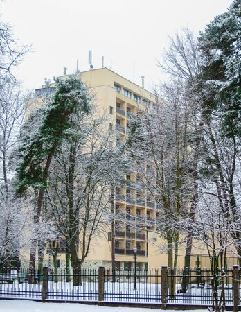 Building of the sanatorium Belarusj in Jurmala, Latvia, winter 2018