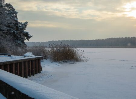 The river Lielupe river, snow-covered in Jurmala, Latvia 2018