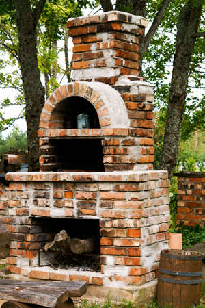 Outdoor brick fireplace for cooking, outdoor barbecue