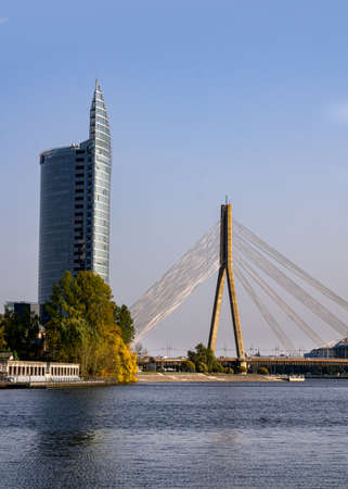 A cable-stayed bridge over the Daugava River in Riga, Latvia, 22 September 2020