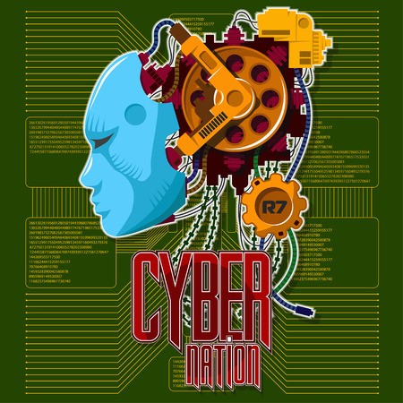 Robotic head with a human face on a green background. Microcircuits, cables, mechanisms. Background and text are located on separate layers. Illustration