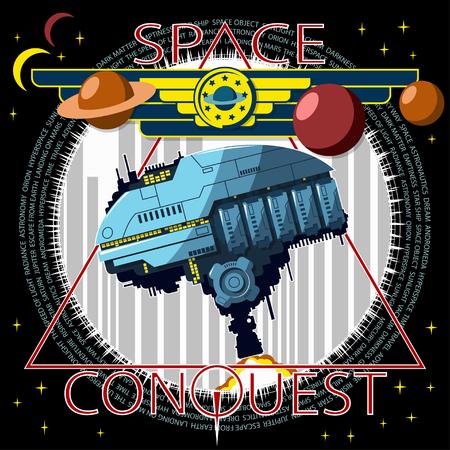 L'astronave decolla sullo sfondo della città. Emblema della conquista del cosmo.