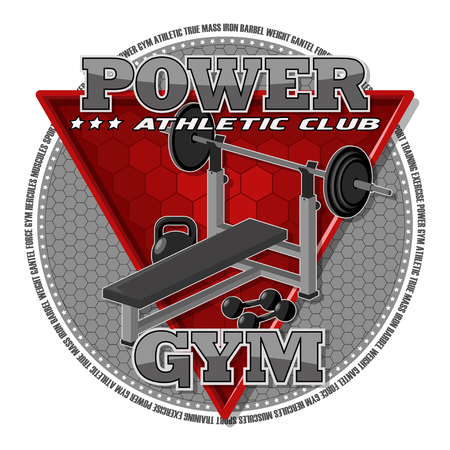 Emblem of the gym. Gym equipment on the background of a red triangle.