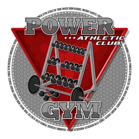 Emblem of the gym. Sports equipment on the background of a red triangle. Иллюстрация